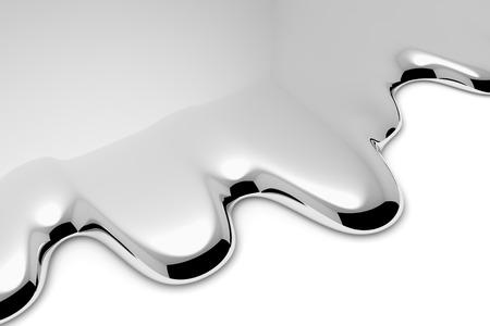 Derretir el líquido metálico en blanco con sombras de fondo metálico abstracto (cromo, mercurio, plata u otro metal) Ilustración 3D vista en primer plano diagonal