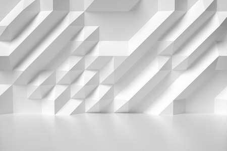Abstract white room wall with futuristic bumpy geometric polygonal surface and parquet floor colorless 3d illustration