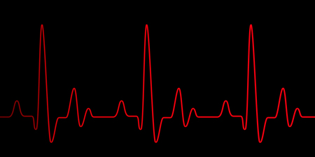 Heart pulse graphic red line on black, healthcare medical background with heart cardiogram, cardiology concept pulse rate diagram illustration Фото со стока