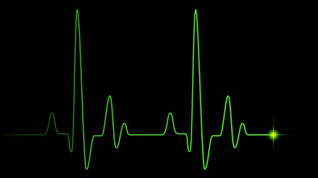 Heart pulse green line on black, healthcare medical background with heart cardiogram, cardiology concept pulse rate diagram illustration