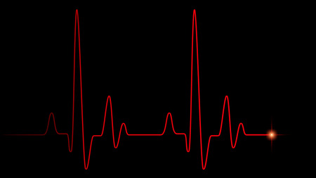 Heart pulse red line on black, healthcare medical background with heart cardiogram, cardiology concept pulse rate diagram illustration Фото со стока