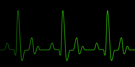 Heart pulse graphic green line on black, healthcare medical background with heart cardiogram, cardiology concept pulse rate diagram illustration