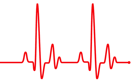 Red heart beat pulse graphic line on white, healthcare medical sign with heart cardiogram. Cardiology concept pulse rate diagram illustration Фото со стока
