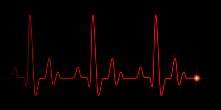 Heart pulse red graphic line on black, healthcare medical background with heart cardiogram, cardiology concept pulse rate diagram illustration