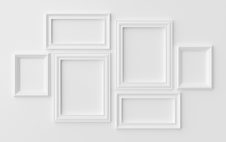 White blank photoframes on white wall with shadows, white colorless picture frames template set, photoframe mock-up 3D illustration