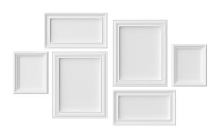White blank photoframes isolated on white with shadows, white colorless picture frames template set, photo frame mock-up 3D illustration