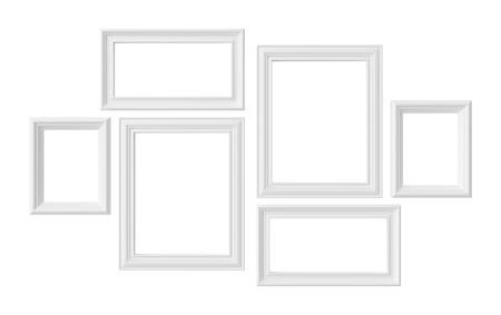 White blank photoframes isolated on white background, white colorless picture frames template set, photoframe mock-up 3D illustration Stockfoto