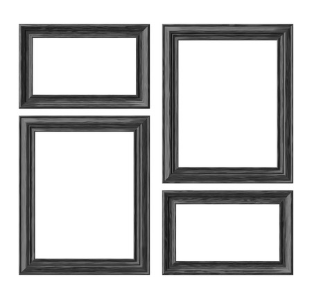 Black wood blank frames for picture or photo isolated on white background, decorative wooden picture frames template set, art frame mock-up 3D illustration 版權商用圖片