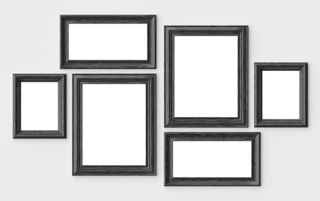 Black wooden blank picture or photo frames on white wall with shadows with copy-space, decorative wooden picture frames template set, art frame mock-up 3D illustration
