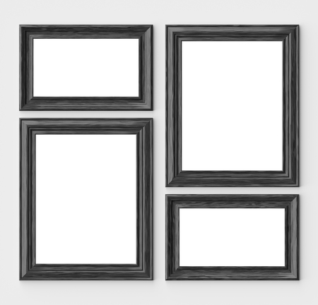 Black wood blank frames for picture or photo on white wall with shadows with copy-space, decorative wooden picture frames template set, art frame mock-up 3D illustration