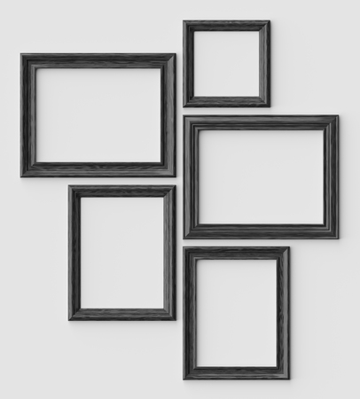 Black wood blank picture or photo frames on white wall with shadows, decorative wooden picture frames template set, art frame mock-up 3D illustration