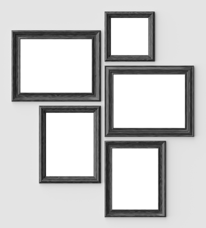 Black wood blank picture or photo frames on white wall with shadows with copy-space, decorative wooden picture frames template set, art frame mock-up 3D illustration