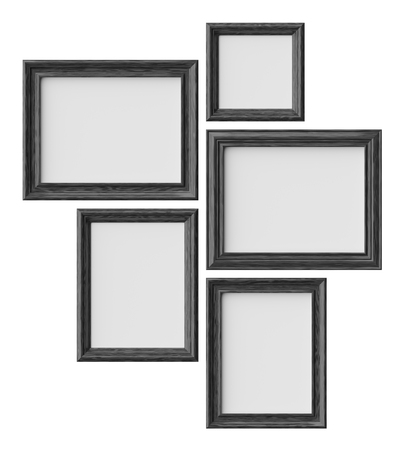 Black wood blank picture or photo frames isolated on white with shadows, decorative wooden picture frames template set, art frame mock-up 3D illustration