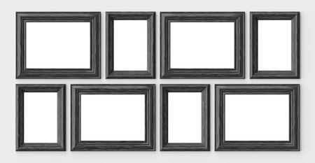 Black wooden blank frames for picture or photo on white wall with shadows with copy-space, decorative wooden picture frames template set, art frame mock-up 3D illustration 版權商用圖片
