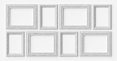 White wooden blank frames for picture or photo on white wall with shadows, decorative wooden picture frames template set, art frame mock-up 3D illustration