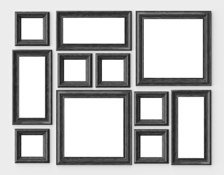 Black wood blank photo or picture frames on white wall with shadows with copy-space, decorative wooden picture frames template set, art frame mock-up 3D illustration 版權商用圖片