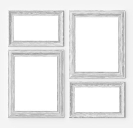 White wood blank frames for picture or photo on white wall with shadows with copy-space, decorative wooden picture frames template set, art frame mock-up 3D illustration