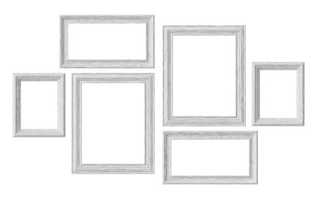 White wooden blank picture or photo frames isolated on white background, decorative wooden picture frames template set, art frame mock-up 3D illustration 版權商用圖片