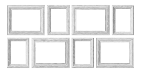 White wooden blank frames for picture or photo isolated on white background, decorative wooden picture frames template set, art frame mock-up 3D illustration