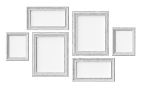 White wooden blank picture or photo frames isolated on white with shadows, decorative wooden picture frames template set, art frame mock-up 3D illustration