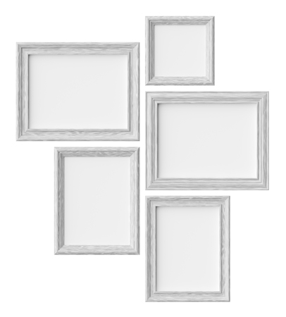 White wood blank picture or photo frames isolated on white with shadows, decorative wooden picture frames template set, art frame mock-up 3D illustration