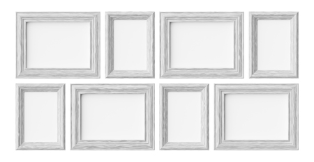 White wooden blank frames for picture or photo isolated on white with shadows, decorative wooden picture frames template set, art frame mock-up 3D illustration 版權商用圖片