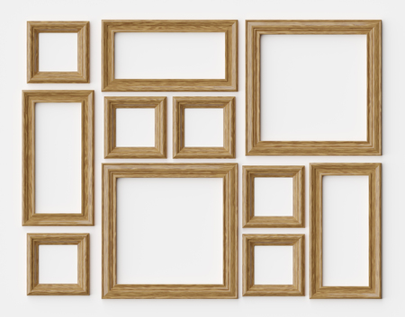 Wood blank photo or picture frames on white wall with shadows, decorative wooden picture frames template set, art frame mock-up 3D illustration