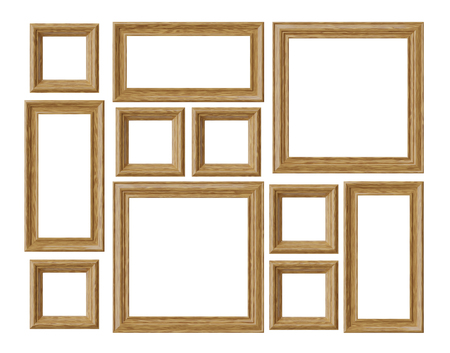 Wood blank photo or picture frames isolated on white background, decorative wooden picture frames template set, art frame mock-up 3D illustration 版權商用圖片