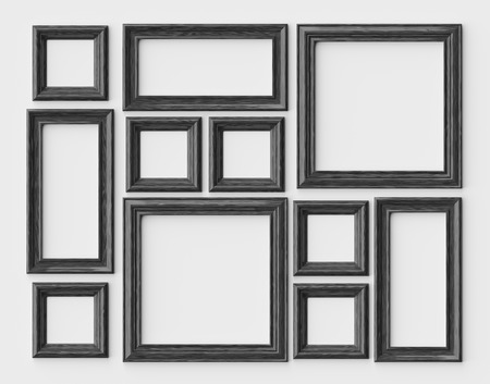 Black wood blank photo or picture frames on white wall with shadows, decorative wooden picture frames template set, art frame mock-up 3D illustration 版權商用圖片