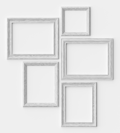 White wood blank picture or photo frames on white wall with shadows, decorative wooden picture frames template set, art frame mock-up 3D illustration