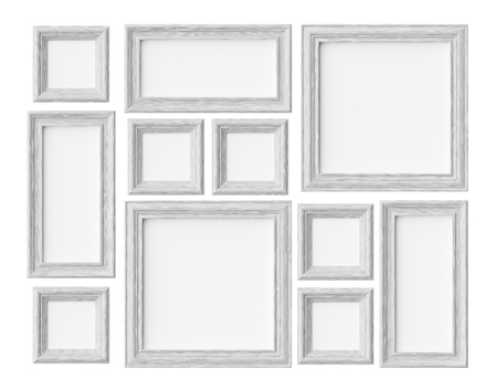 White wood blank photo or picture frames isolated on white with shadows, decorative wooden picture frames template set, art frame mock-up 3D illustration 版權商用圖片