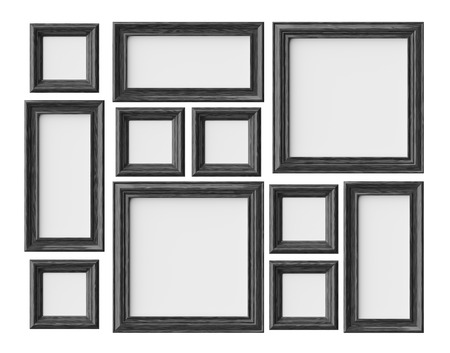 Black wood blank photo or picture frames isolated on white with shadows, decorative wooden picture frames template set, art frame mock-up 3D illustration 版權商用圖片