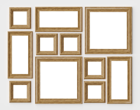 Wood blank photo or picture frames on white wall with shadows with copy-space, decorative wooden picture frames template set, art frame mock-up 3D illustration