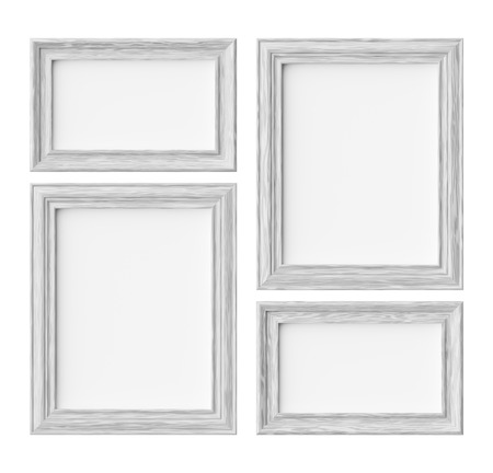 White wood blank frames for picture or photo isolated on white with shadows, decorative wooden picture frames template set, art frame mock-up 3D illustration 版權商用圖片