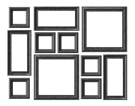 Black wood blank photo or picture frames isolated on white background, decorative wooden picture frames template set, art frame mock-up 3D illustration