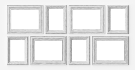 White wooden blank frames for picture or photo on white wall with shadows with copy-space, decorative wooden picture frames template set, art frame mock-up 3D illustration 版權商用圖片