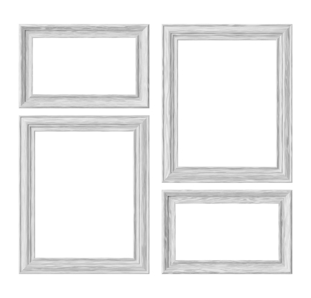 White wood blank frames for picture or photo isolated on white background, decorative wooden picture frames template set, art frame mock-up 3D illustration