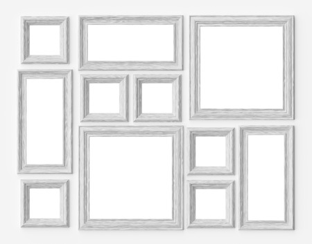 White wood blank photo or picture frames on white wall with shadows with copy-space, decorative wooden picture frames template set, art frame mock-up 3D illustration