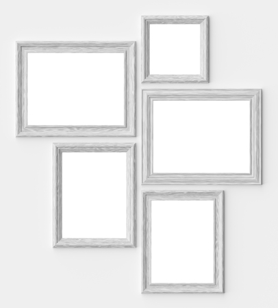 White wood blank picture or photo frames on white wall with shadows with copy-space, decorative wooden picture frames template set, art frame mock-up 3D illustration