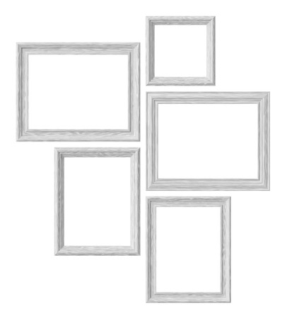 White wood blank picture or photo frames isolated on white background, decorative wooden picture frames template set, art frame mock-up 3D illustration 版權商用圖片