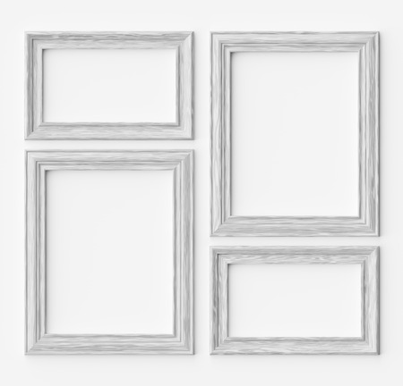 White wood blank frames for picture or photo on white wall with shadows, decorative wooden picture frames template set, art frame mock-up 3D illustration