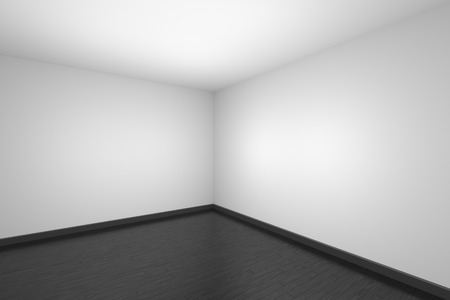 Empty room with white walls and ceiling, black wood parquet floor and soft light, simple minimalist interior architecture background with copy-space, 3d illustration.