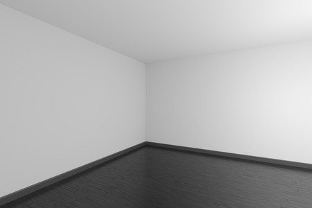 Empty room with white ceiling and walls, black wooden parquet floor and soft light, simple minimalist interior architecture background with copy-space, 3d illustration. 版權商用圖片