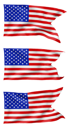 Set of National flag of United States of America with stars and stripes with angle flying and waving in wind isolated on white, 3d illustration set