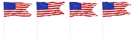 National flag of United States of America with stars and stripes with flagpole with angle flying and waving in wind isolated on white, 3d illustration set. 版權商用圖片