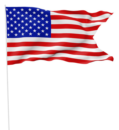 National flag of United States of America with stars and stripes with flagpole with angle flying and waving in wind isolated on white, 3d illustration. 版權商用圖片