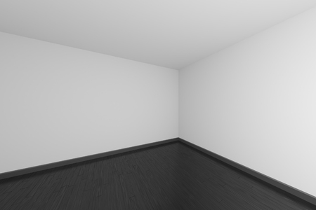 Empty room with white walls and ceiling, black wooden parquet floor and soft light, simple minimalist interior architecture background with copy-space, 3d illustration. 版權商用圖片