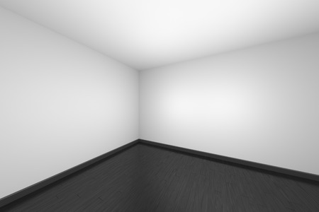 Empty room with white ceiling and walls and black hardwood parquet floor and soft light, simple minimalist interior architecture background with copy-space, 3d illustration. 版權商用圖片