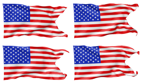 National flag of United States of America with stars and stripes with angle flying and waving in wind isolated on white, 3d illustration set.