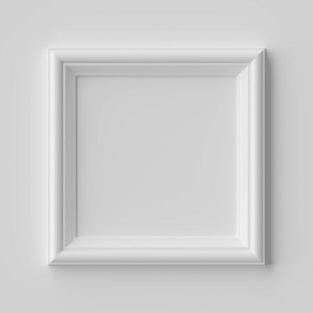 White blank square frame for photo on white wall with shadows, white colorless picture frame template, art frame mock-up 3D illustration 版權商用圖片